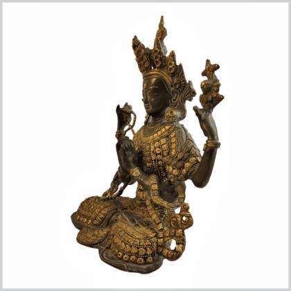 Avalokiteshvara Inlayarbeit grüngold 28cm Seite links