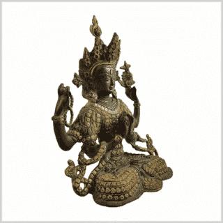 Avalokiteshvara Inlayarbeit grüngold 28cm Seite rechts