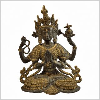 Avalokiteshvara Inlayarbeit grüngold 28cm Vorderansicht