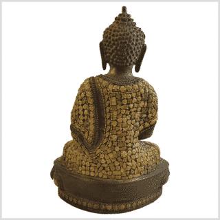 Erleuchtungsbuddha Inlayarbeit 31cm 4,6kg Messing Rücken