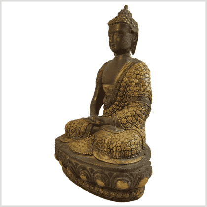 Erleuchtungsbuddha Inlayarbeit 31cm 4,6kg Messing Seite links