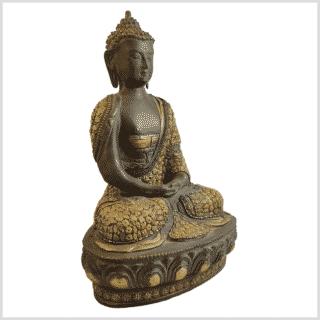 Erleuchtungsbuddha Inlayarbeit 31cm 4,6kg Messing Seite rechts