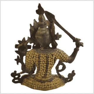 Manjushri Inlayarbeit Messing mit Steine hinten