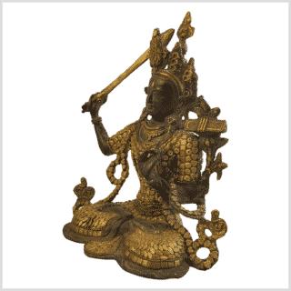 Manjushri Inlayarbeit Messing mit Steine Seite links
