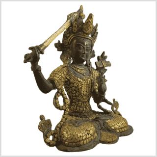 Manjushri Inlayarbeit Messing mit Steine Seite rechts