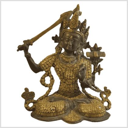 Manjushri Inlayarbeit Messing mit Steine Vorne