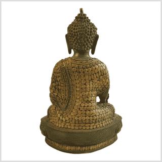 Medizinbuddha 31cm mit Steinarbeiten Messingapplilation grüngold Rücken
