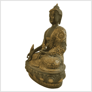 Medizinbuddha 31cm mit Steinarbeiten Messingapplilation grüngold Seite links