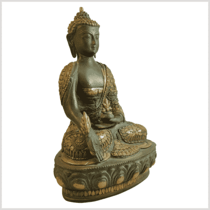 Medizinbuddha 31cm mit Steinarbeiten Messingapplilation grüngold Seite rechts