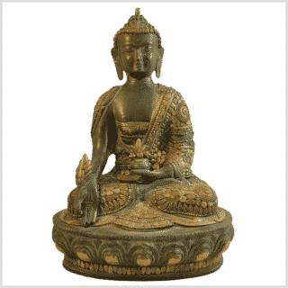 Medizinbuddha 31cm mit Steinarbeiten Messingapplilation grüngold Vorderansicht