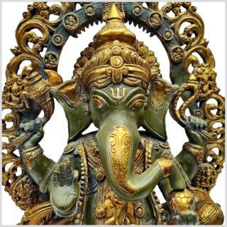 Verzierter Ganesha nepalgrün 15kg Nahansicht