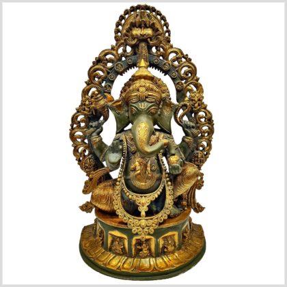Verzierter Ganesha nepalgrün 15kg Vorderansicht