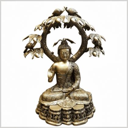 Großer Buddha untem Bodhibaum 75cm Vorderansicht