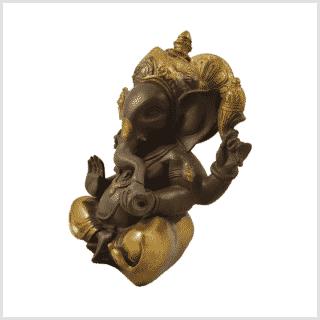 Ganesha kaffeebraun gold sitzend 21cm Seite links