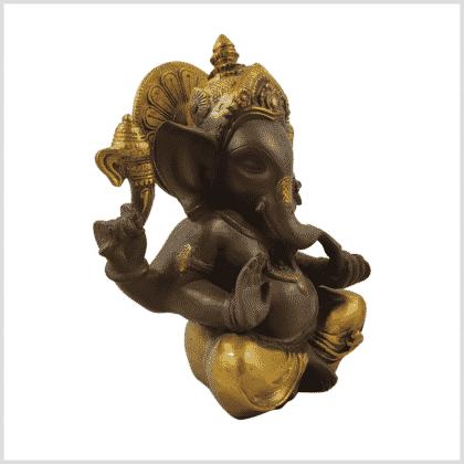 Ganesha kaffeebraun gold sitzend 21cm Seite rechts