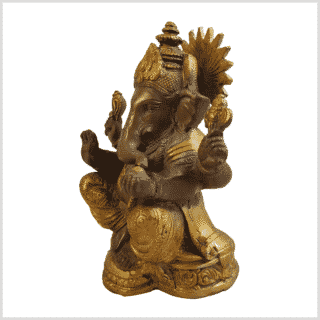 Ganesha 17cm Messing kaffeebraun Gold Seite Links