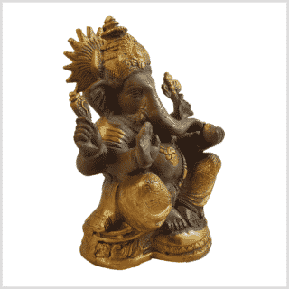 Ganesha 17cm Messing kaffeebraun Gold Seite Rechts