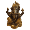 Ganesha 17cm Messing kaffeebraun Gold Vorne
