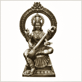 Sarasvati in Groß 110cm Messing Handarbeit