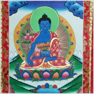 Medizinbuddha Thangka grün Nahansicht