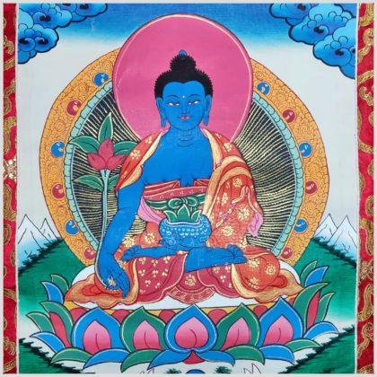 Medizinbuddha Thangka rosa Nahansicht