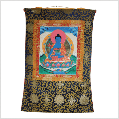 Medizinbuddha Thangka rosa Vollansicht