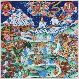 Thangka Weg zum Himmel Way to Heaven Nahansicht
