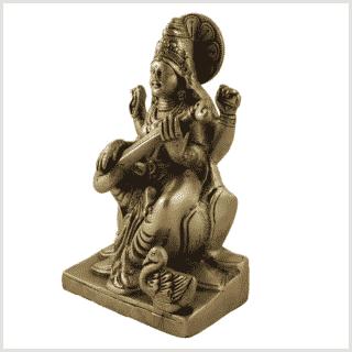 Sarasvati auf Podest Messing 18,7cm Seite links