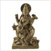 Sarasvati auf Podest Messing 18,7cm Vorderansicht