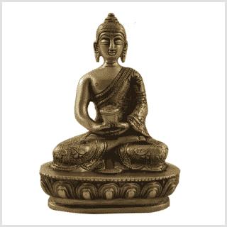 Erleuchtungsbuddha Messing 14cm Vorne