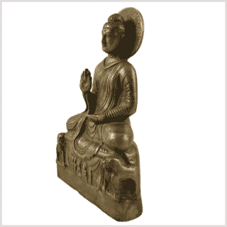 Amoghasiddhi Buddha Messing 21cm Seite links