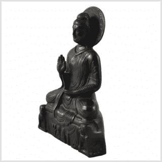 Amoghasiddhi Buddha schwarz 19cm 1kg Seite links