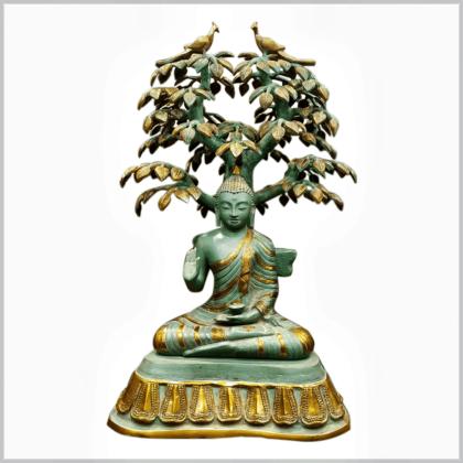 Bodhibaum Buddha mintgrün Messing Handarbeit Vorderansicht Zweite Ansicht