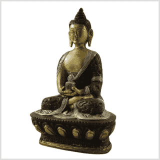 Amitabha Buddha Drachenstil Messing Tricolor Seite links