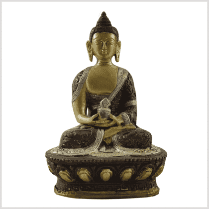 Amitabha Buddha Drachenstil Messing Tricolor Vorne