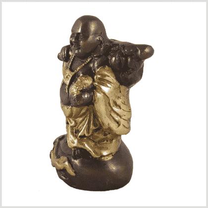 Glücksbuddha Hotai Budei Messing Kupfer 800g Seite links