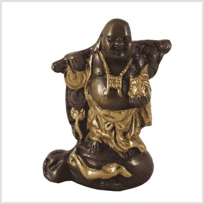 Glücksbuddha Hotai Budei Messing Kupfer 800g Vorne