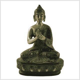 Dharmachakra Buddha Messing grünantik Vorne