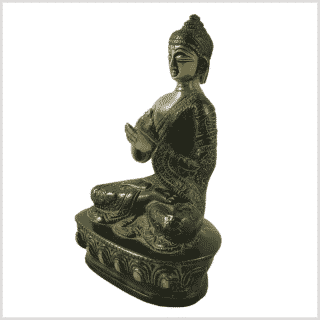 Dharmachakra Buddha Messing grünantik Seite links