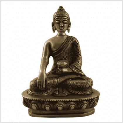 Bhumisparsha Mudra Buddha Messing 14cm 1