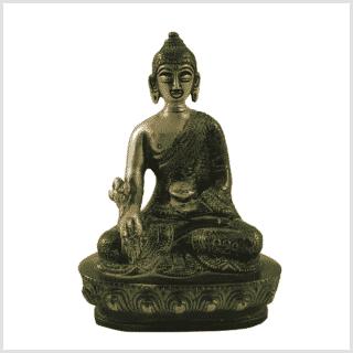 Medizinbuddha Messing grünantik 14cm Vorderansicht