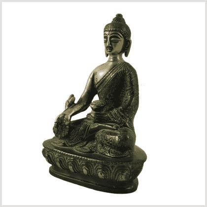 Medizinbuddha Messing grünantik 14cm Seite