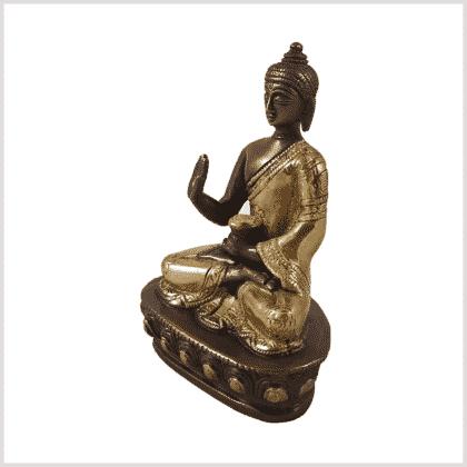 Amoghasiddhi Segnender Buddha Messing Kupfer 14cm Seite links