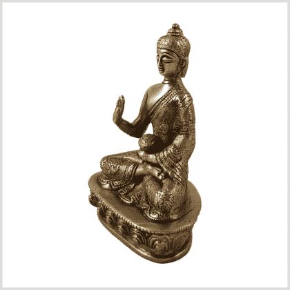 Amoghasiddhi Segnender Buddha Messing 14cm Seite links