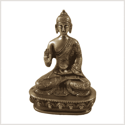 Amoghasiddhi Segnender Buddha Messing 14cm Vorderansicht