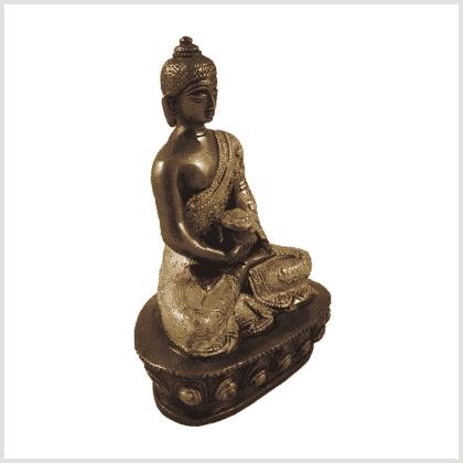 Erleuchtungsbuddha Messing Kupfer 14cm Seite rechts