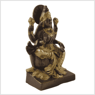 Lakshmi auf Podest Messing Kupfer 18,7cm Seite rechts