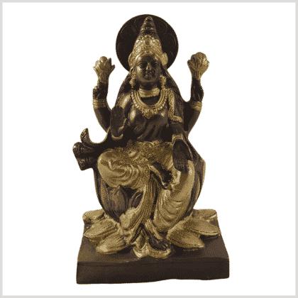 Lakshmi auf Podest Messing Kupfer 18,7cm Vorne