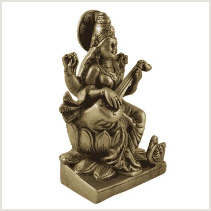 Sarasvati auf Podest Messing 18,7cm Seite rechts
