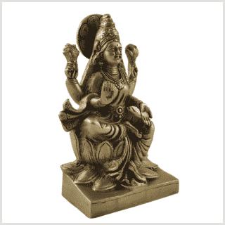 Lakshmi auf Podest Messing 18,7cm Seite rechts